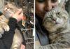 Adorable gatito rescatado no para de abrazar a todos los que se encuentra