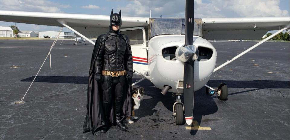 Avion batman y perro
