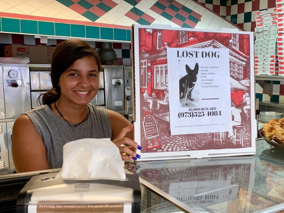 Mujer sostiene caja con folleto de perro perdido