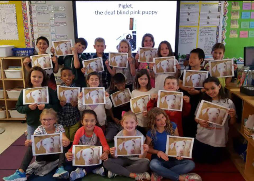Niños con fotografía de perrito rosa