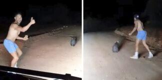 Policía fuera de servicio mata a un animal con una piedra mientras se ríe