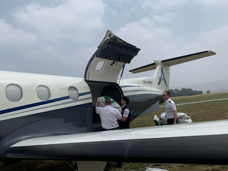 Aviones cargados con alimentos AA