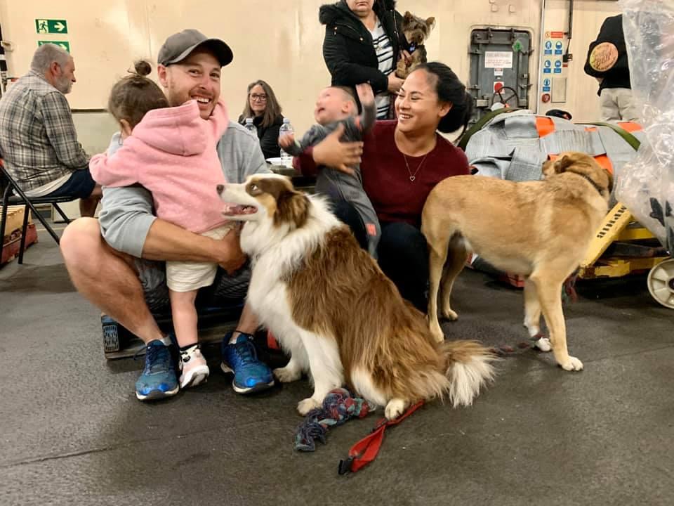 Personas suben a bordo con sus perros