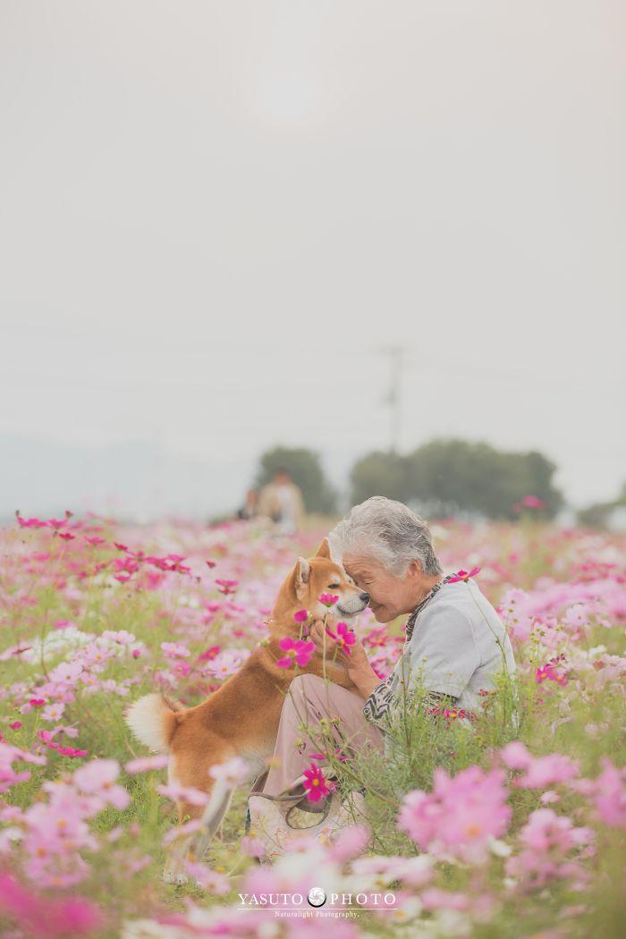 abuela y su mascota entre flores