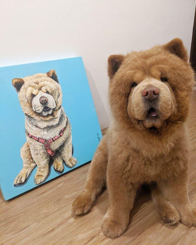 Pintura de perro Chow Chow