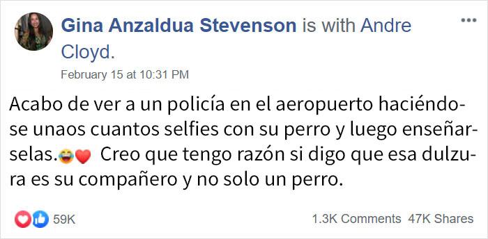 Publicación Facebook Andre Cloyd y su perro por Gina Anzaldua