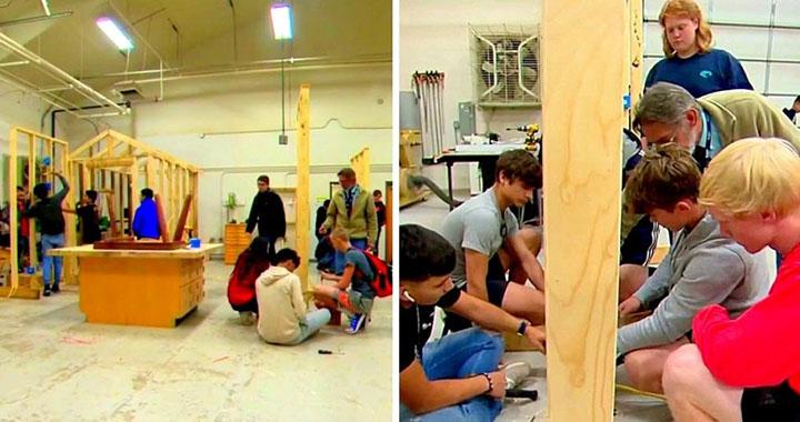 Estudiantes construyen casas para perros sin hogar