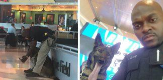 policía y su perro de servicio se toman selfies