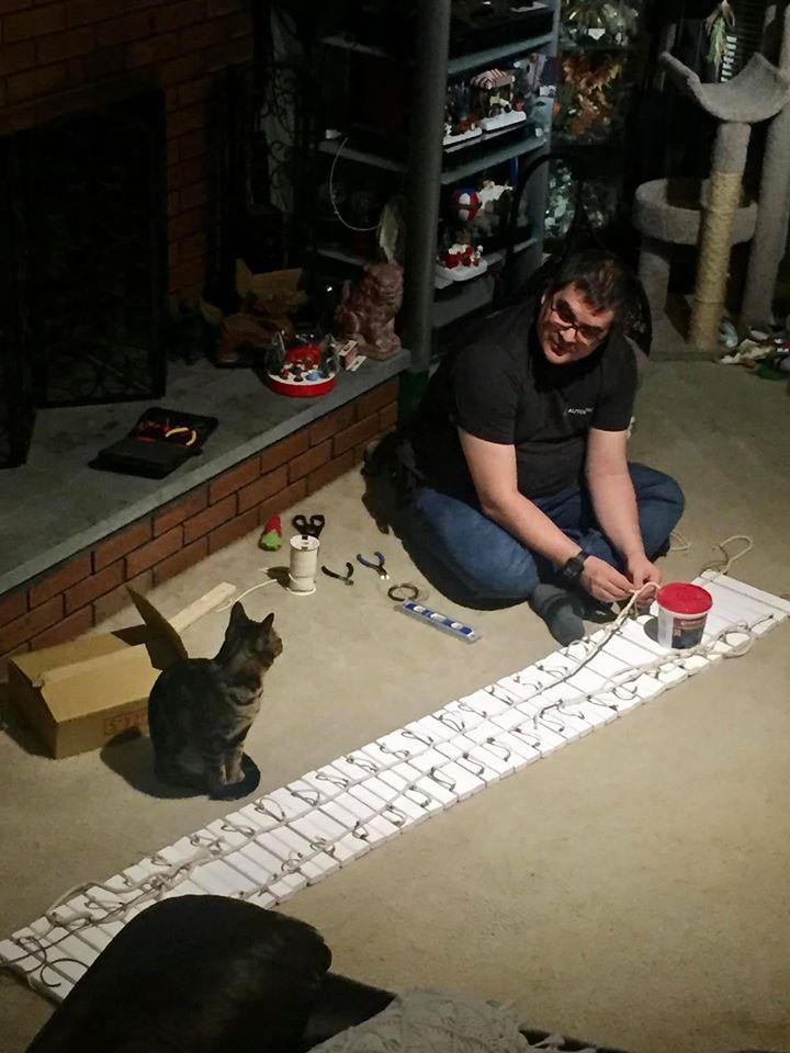 Gato supervisa al hombre