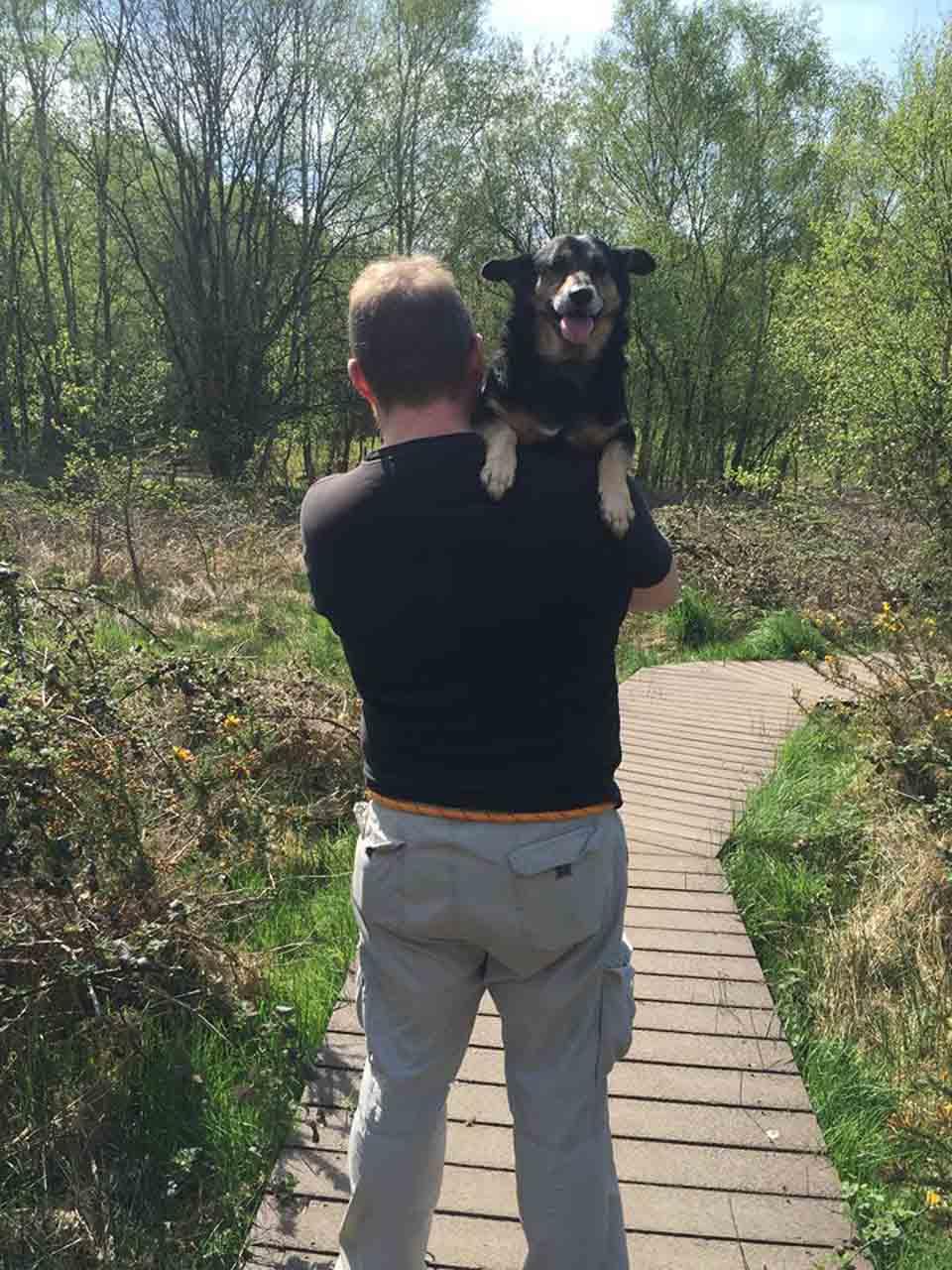 Hombre carga a perrito rescatado