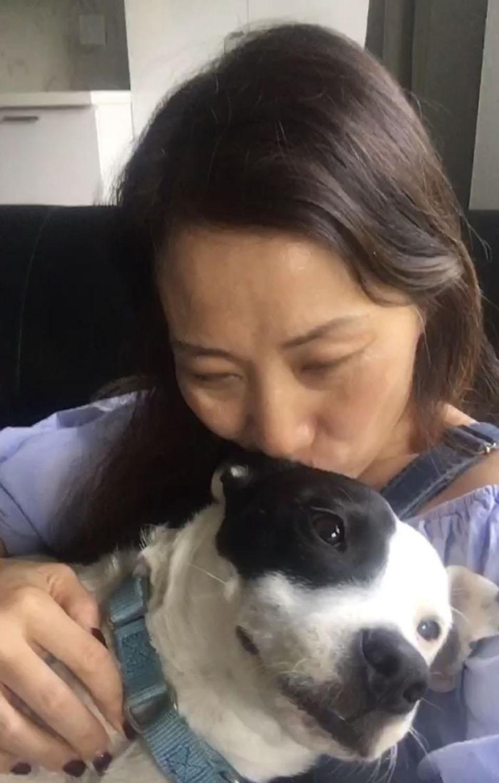 Mujer besa a perrito adoptado