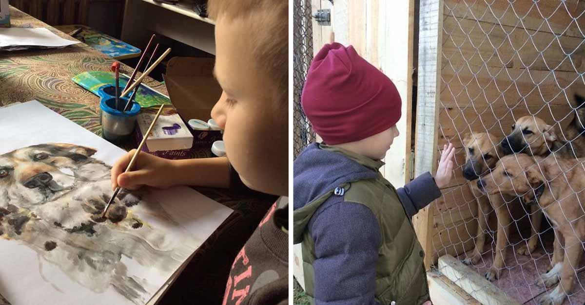 Niño vende sus pinturas de animales para comprar recursos para refugios
