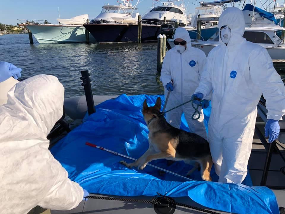 Oficiales rescatan perro de un bote