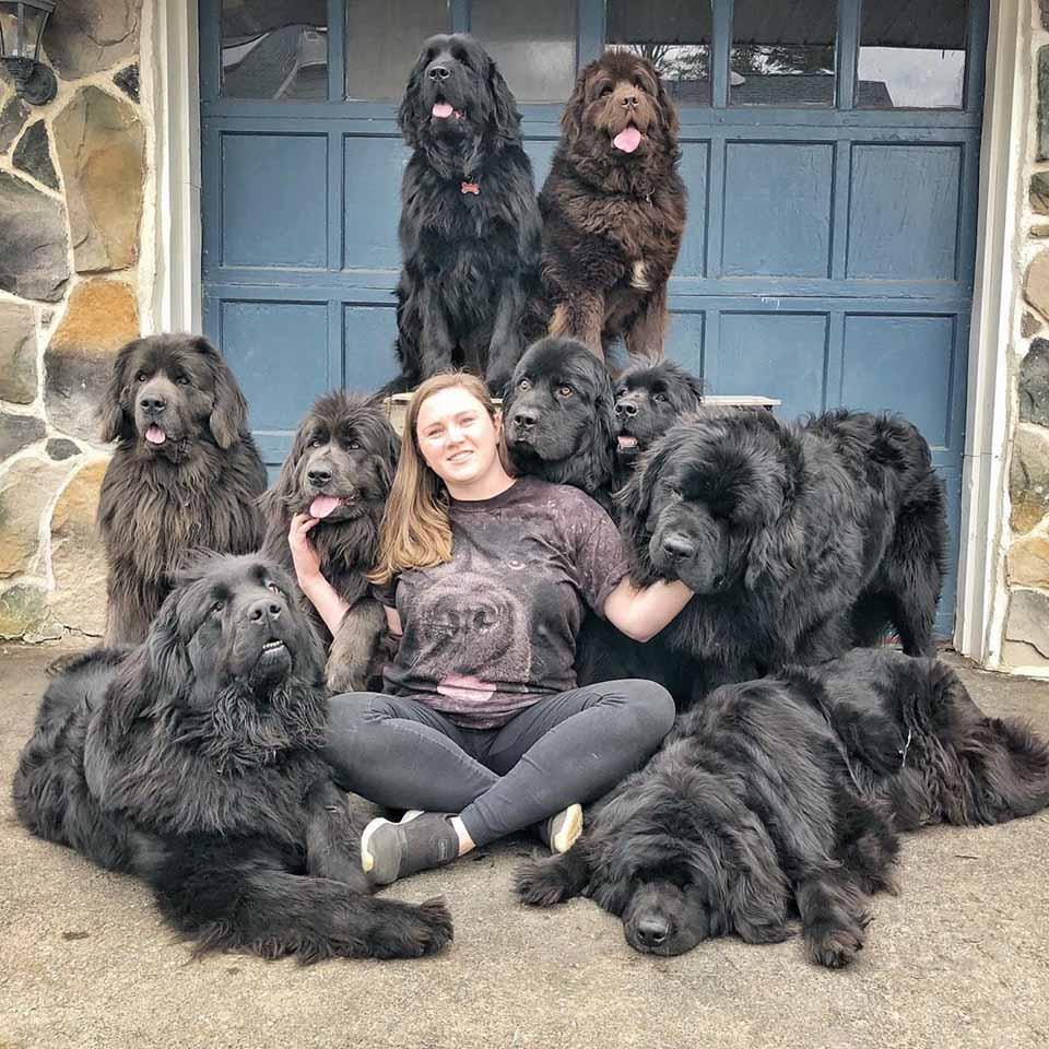 Mujer acompañada de sus perros