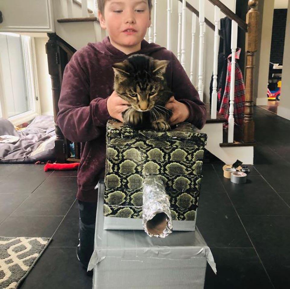 Niño sostiene a gato sobre tanque de cartón