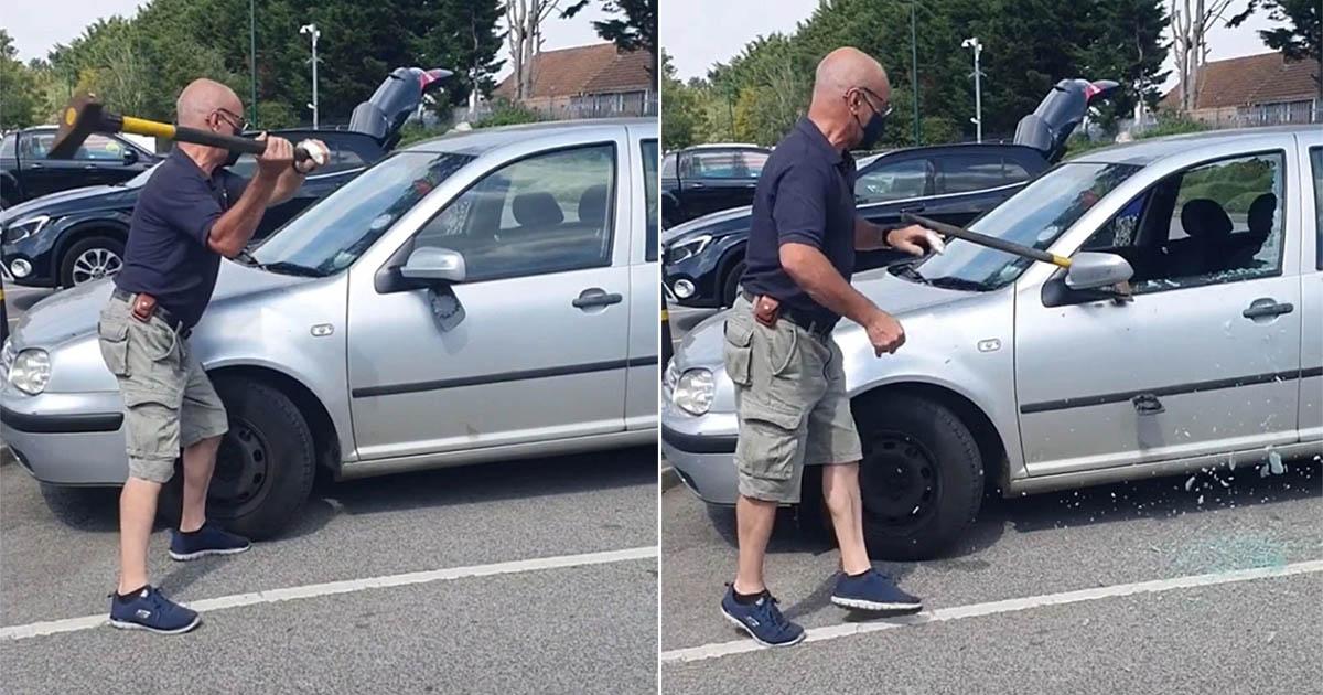 Hombre salvó perro abandonado en un auto caliente