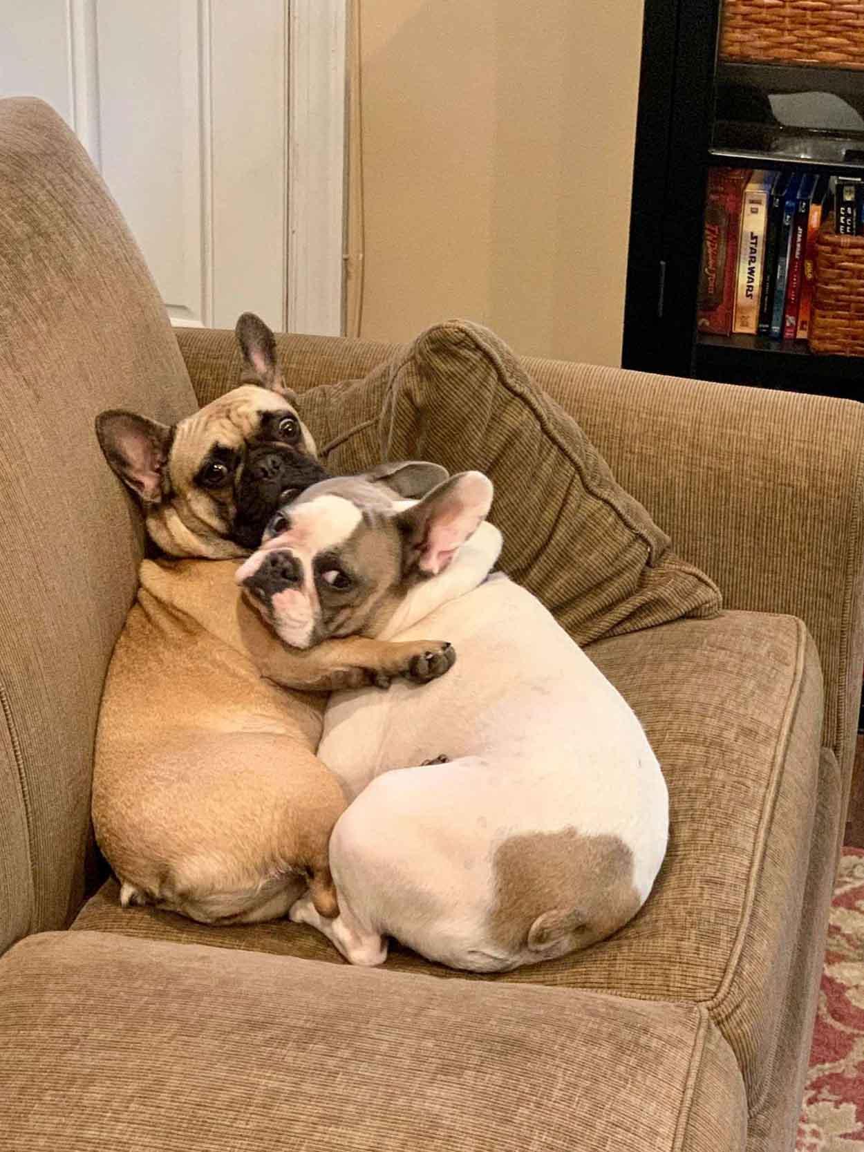 Abrazo en el sofá