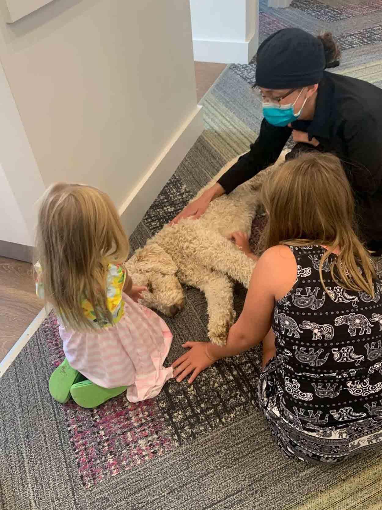 Niños juegan con perrito