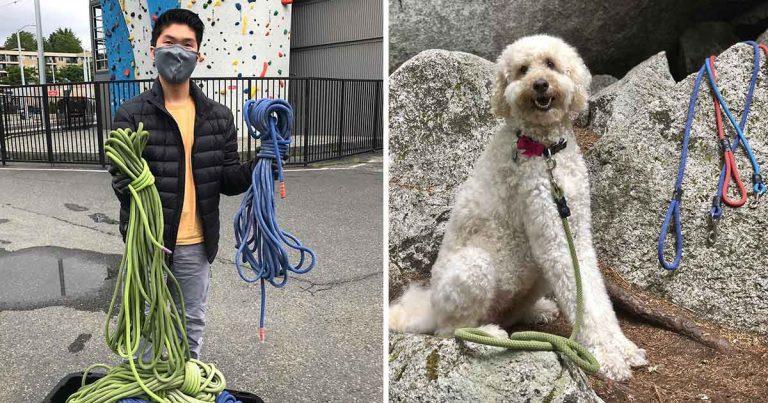 Joven convierte las cuerdas de escalar gastadas en correas para perros