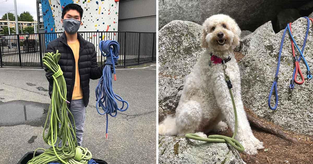 Joven convierte cuerdas escalar correas perros